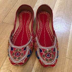 Red embellished ballet flats size medium